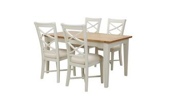 Large Rectangular Extending Table & Set of 4 Cream Dining Chairs Shore