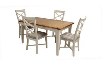 Small Extending Dining Table and Set of 4 Cross Back Chairs Shore Chairs