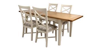 Shore Grote uitschuifbare eettafel en 4 stoelen met kruislatjes rugleuning