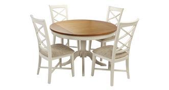 Shore Ronde tafel & set van 4 stoelen met kruislatjes rugleuning