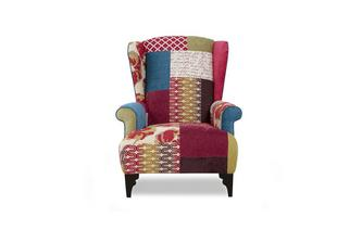 Small High Back Wing Chair Shout Patchwork