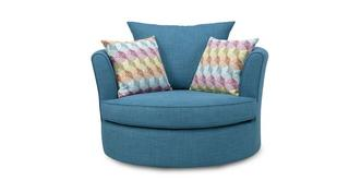 Skye Large Swivel Chair with Pattern Scatters