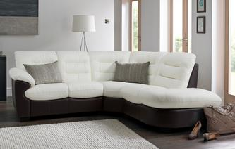 Skyline Leather and Leather Look Left Arm Facing 2 Piece Corner Sofa Essential