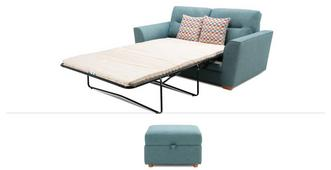 Soda Clearance Large 2 Seater Sofa Bed & Stool
