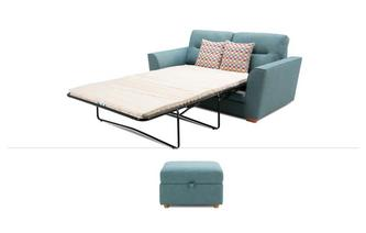 Large 2 Seater Sofa Bed & Stool Revive