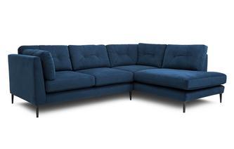 Velvet Left Hand Facing Arm Open End Corner Sofa