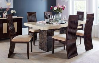 GXD Strasbourg Rectangular Fixed Table And 4 Lima Chairs Strasbourg Marble
