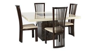 Strasbourg Vierkante tafel en 4 Salvadore stoelen