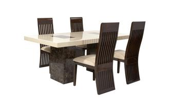 Rectangular Fixed Table and 4 Lima Chairs