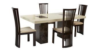 Strasbourg Rechthoekige tafel en 4 Salvadore stoelen