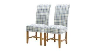 Tartan Dining Chair Reeks van 2 geruite stoelen