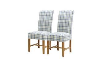 Set of 2 Tartan Dining Chairs