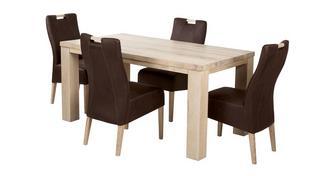 Tigre Medium vaste tafel en 4 Zardos stoelen