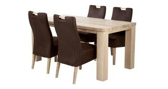 Tigre Grote vaste tafel en 4 Zardos stoelen