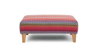 Tiki Pattern Banquette Footstool