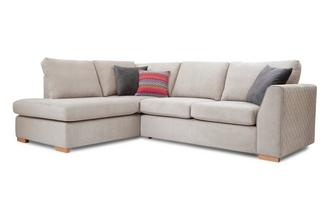 Right Hand Facing Arm Open End Deluxe Corner Sofa Bed Sherbet