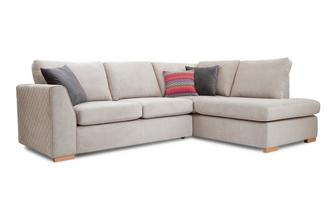Left Hand Facing Arm Open End Deluxe Corner Sofa Bed Sherbet
