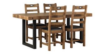 Toronto Vaste tafel & en set van 4 stoelen horizontale latten