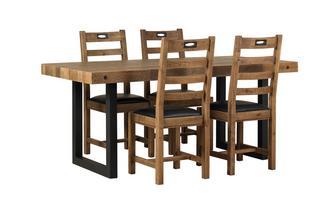 Vaste tafel & en set van 4 stoelen horizontale latten Toronto