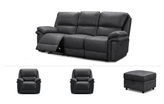 3 Seater Recliner, 2 x Recliner Chairs & Stool