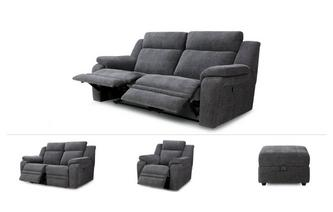 Toulon Clearance 3 Seater Manual Recliner Sofa, 2 Seater Power, Power Recliner Chair & Footstool Provence
