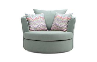 Large Swivel Chair with 2 Pattern Scatters Revive