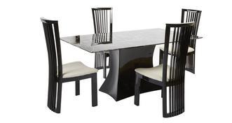 Trattoria Vaste rechthoekige eettafel en 4 Santa Fe stoelen