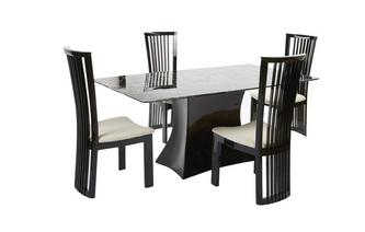 Fixed Rectangular Table and 4 Santa Fe Chairs Trattoria Marble