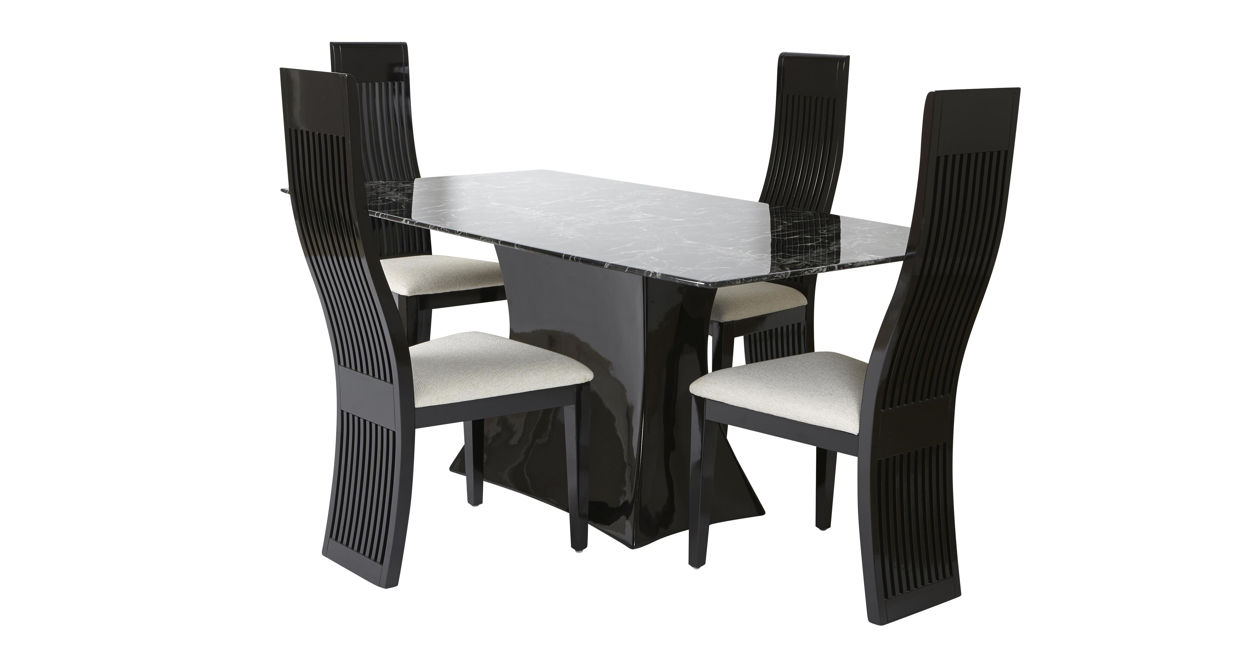 Trattoria Fixed Rectangular Table and 4 Tulsa Chairs Trattoria ...