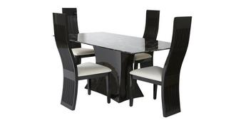 Trattoria Fixed Rectangular Table and 4 Tulsa Chairs