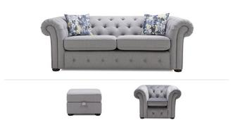 Twille Clearance 3 Seater Sofa, Chair & Footstool