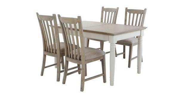 Valencia Rectangular Extending Table & Set of 4 Dining Chairs with Fabric Seat Pad