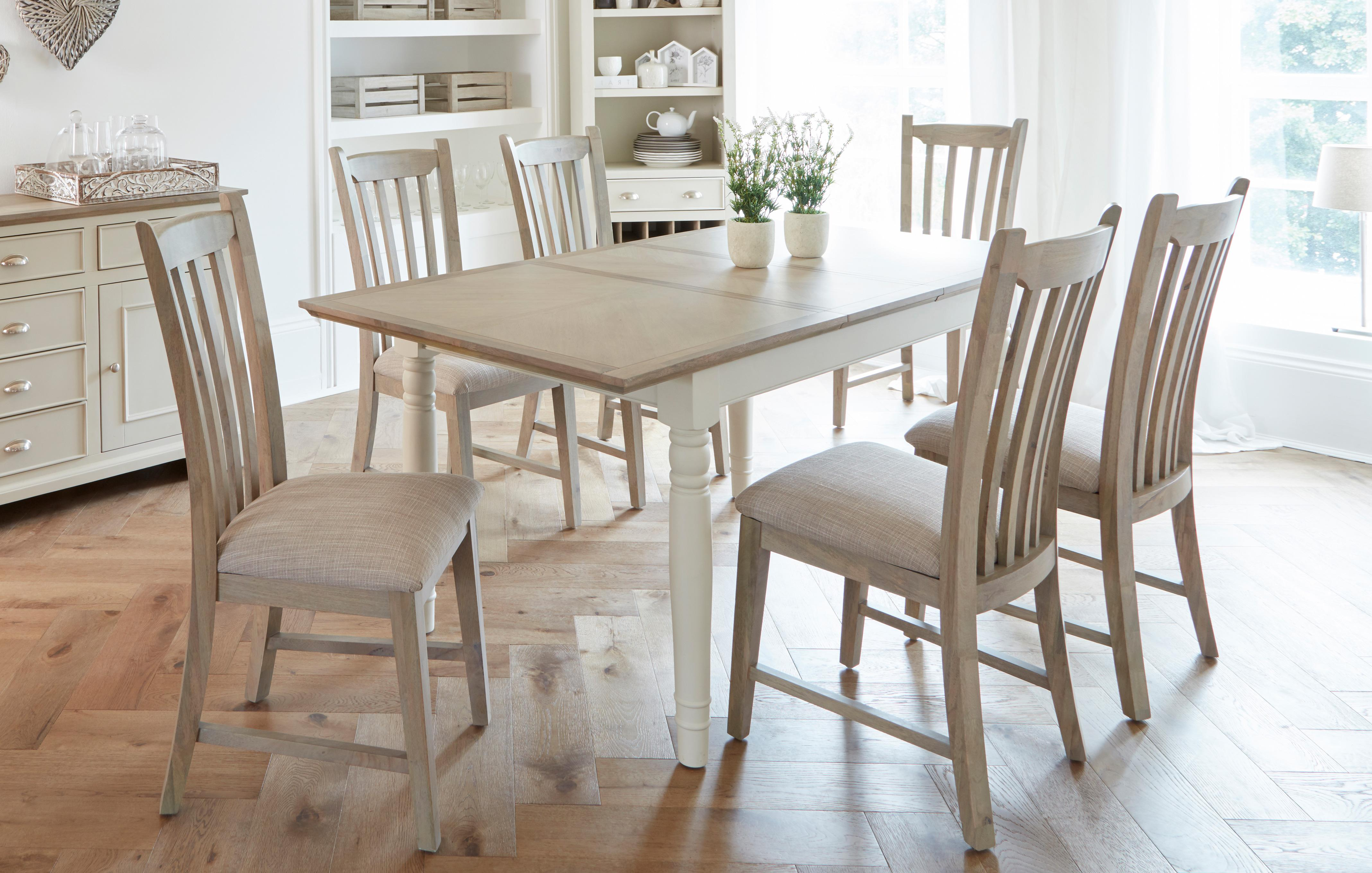 Valencia Rectangular Extending Table Set Of 4 Dining Chairs With Fabric Seat Pad