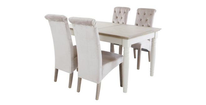 Valencia: Rectangular Extending Table U0026 Set Of 4 Button Back Chairs