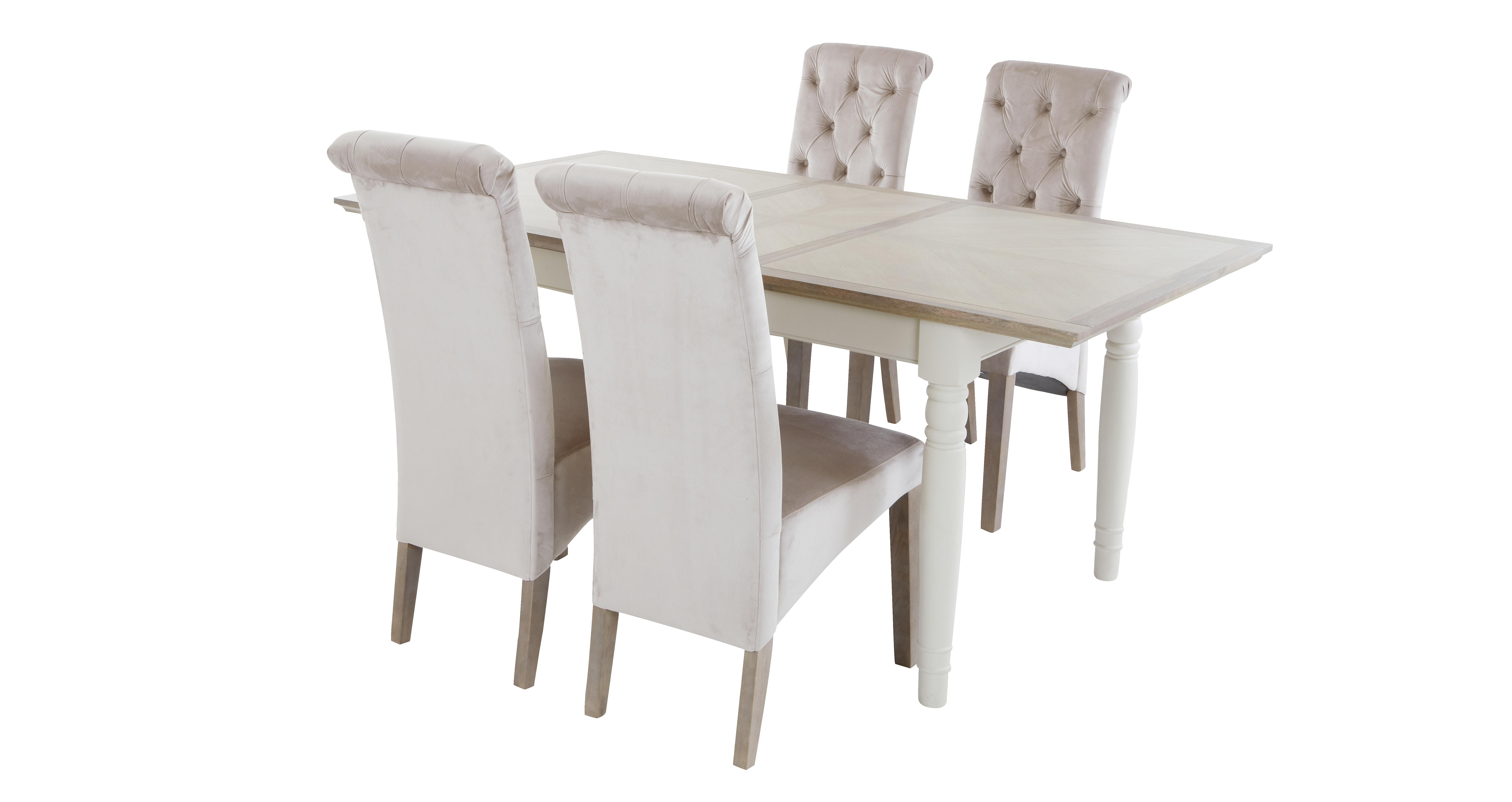 Valencia Rectangular Extending Table Set Of 4 Button Back Chairs