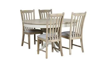 Round Extending Table & Set of 4 Dining Chairs with Fabric Seat Pad Valencia