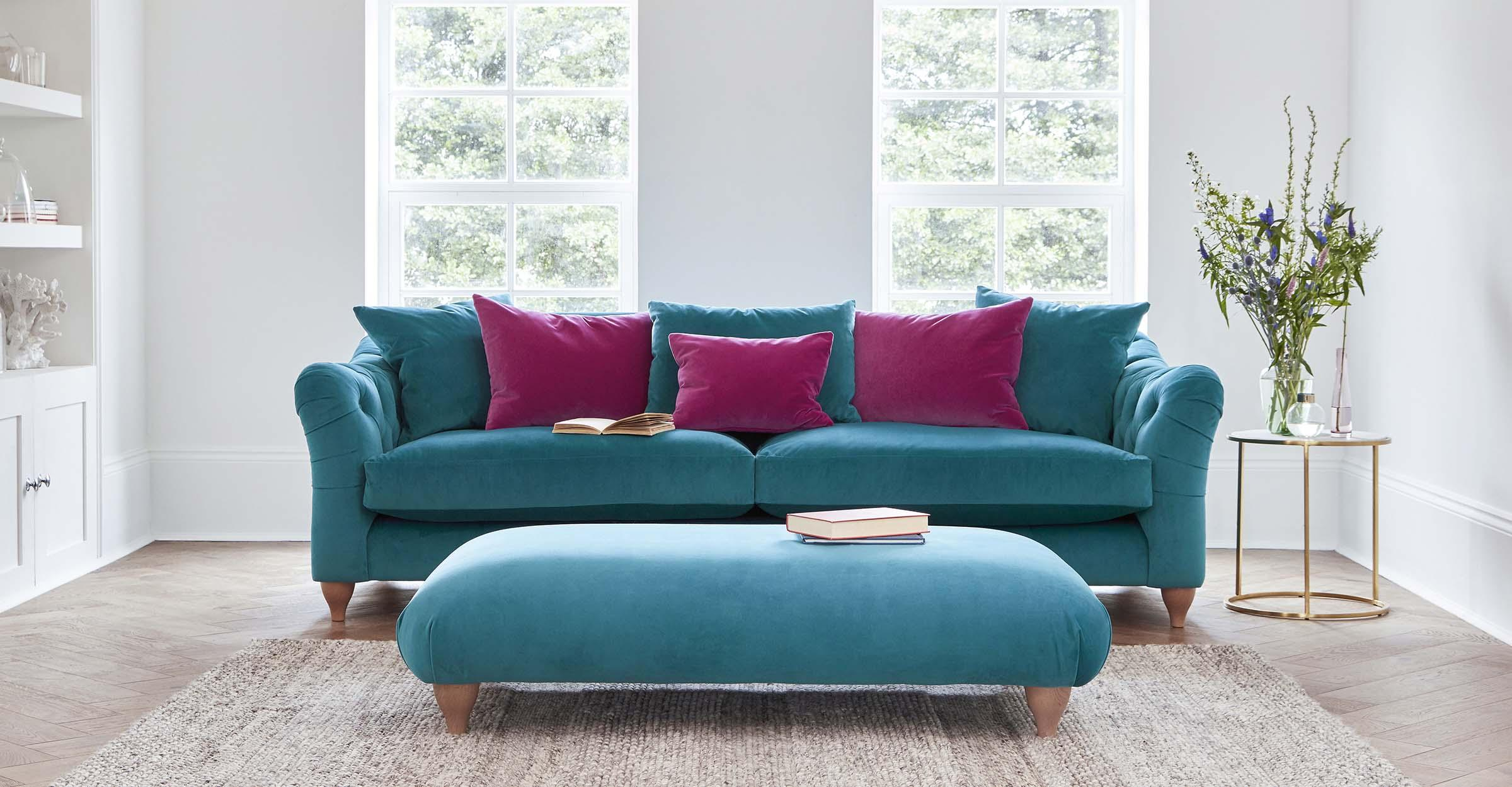 Crushed velvet sofas