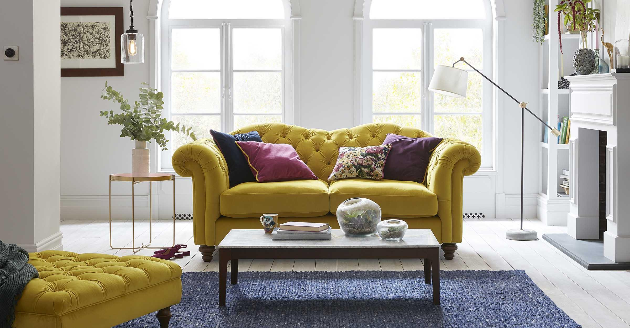 Velvet sofas in colour
