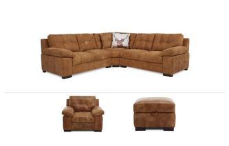 3 Piece Corner Sofa, Chair & Stool