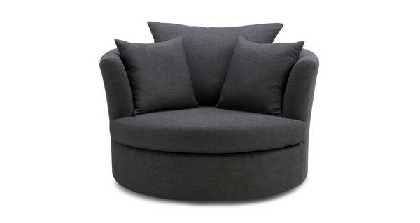 Vesta Large Swivel Chair with Plain Scatters