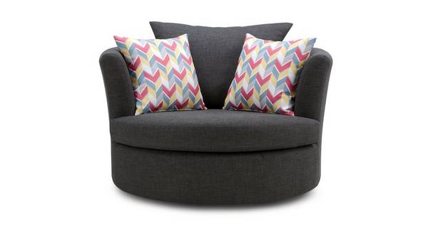 Vesta Large Swivel Chair with Pattern Scatters
