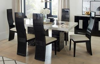 GXD Vienna Fixed Table And 4 Tulsa Chairs Marble
