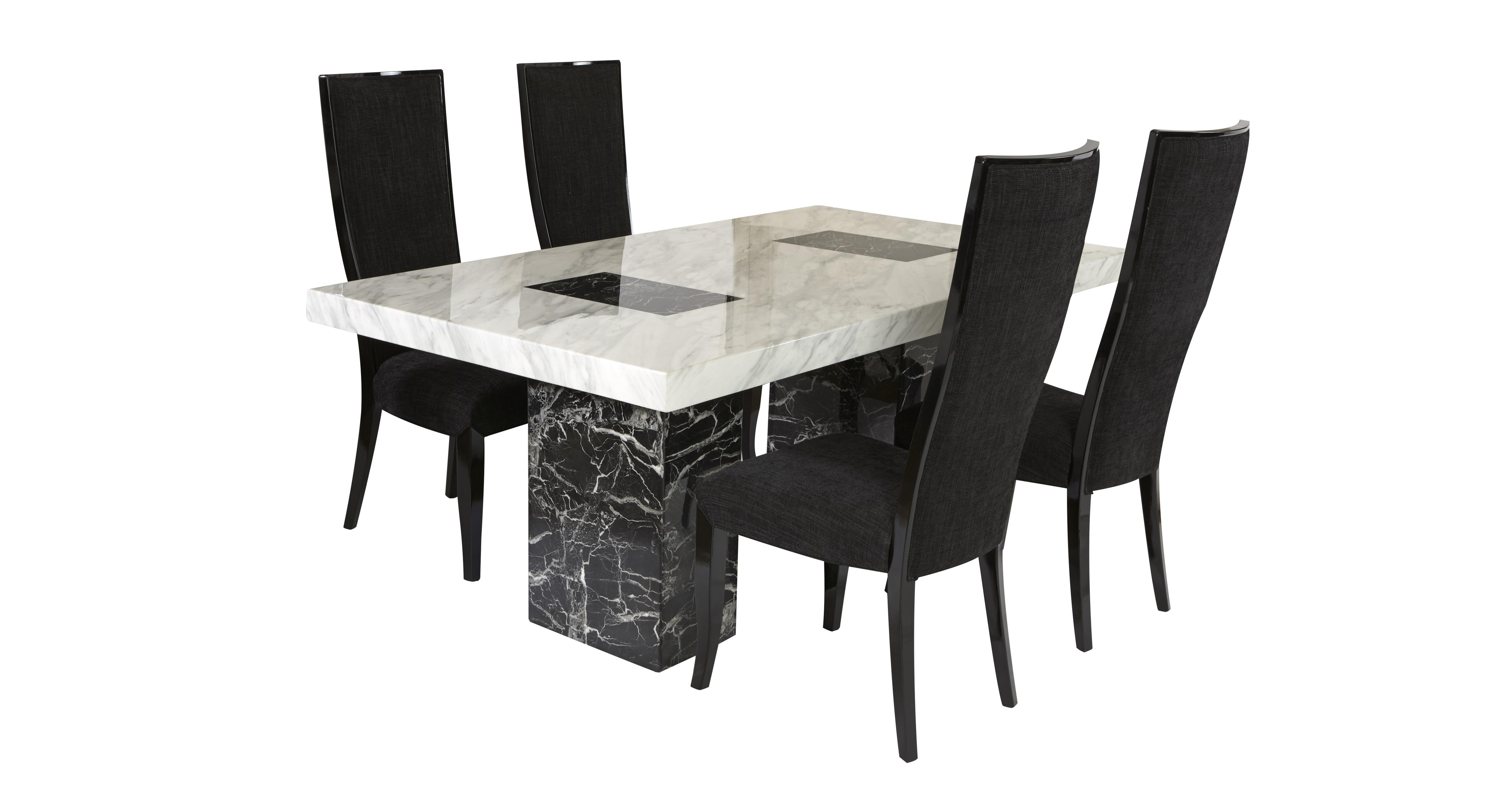 Vienna Fixed Table And 4 Oslo Chairs Marble