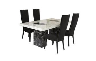 Fixed Table and 4 Oslo Chairs Vienna Marble