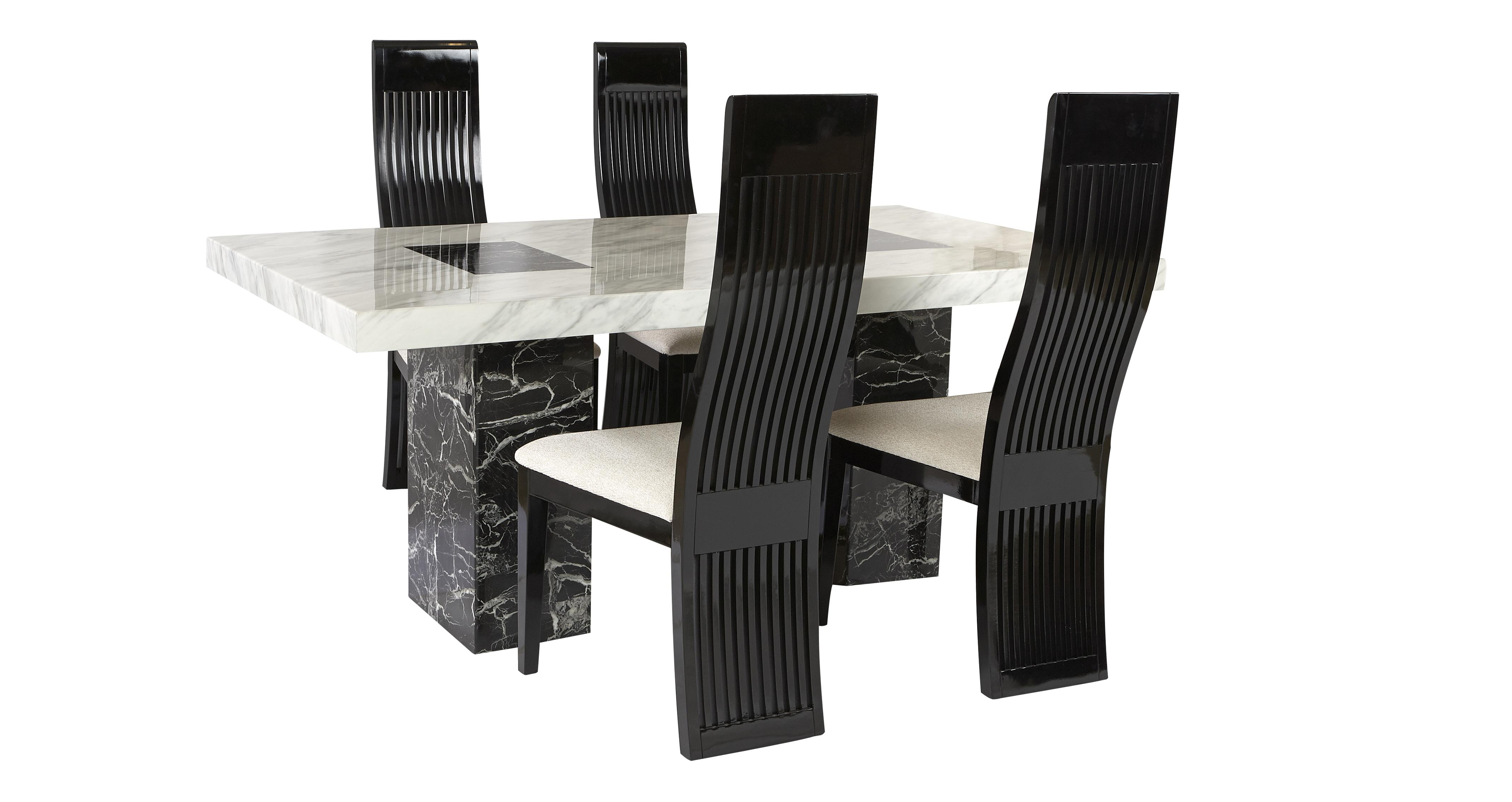 Vienna Fixed Table And 4 Tulsa Chairs Marble
