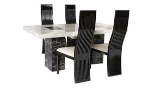 Vienna Vaste tafel en 4 Tulsa stoelen