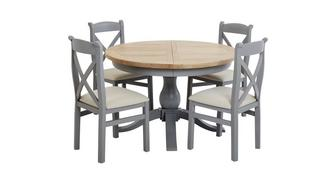 Vivario Extending Round Table & Set of 4 Cross Back Chairs