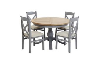 Extending Round Table & Set of 4 Cross Back Chairs Vivario