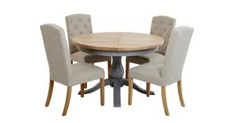 Vivario Extending Round Table & Set of 4 Upholstered Chairs