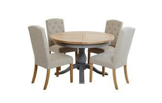 Extending Round Table & Set of 4 Upholstered Chairs Vivario